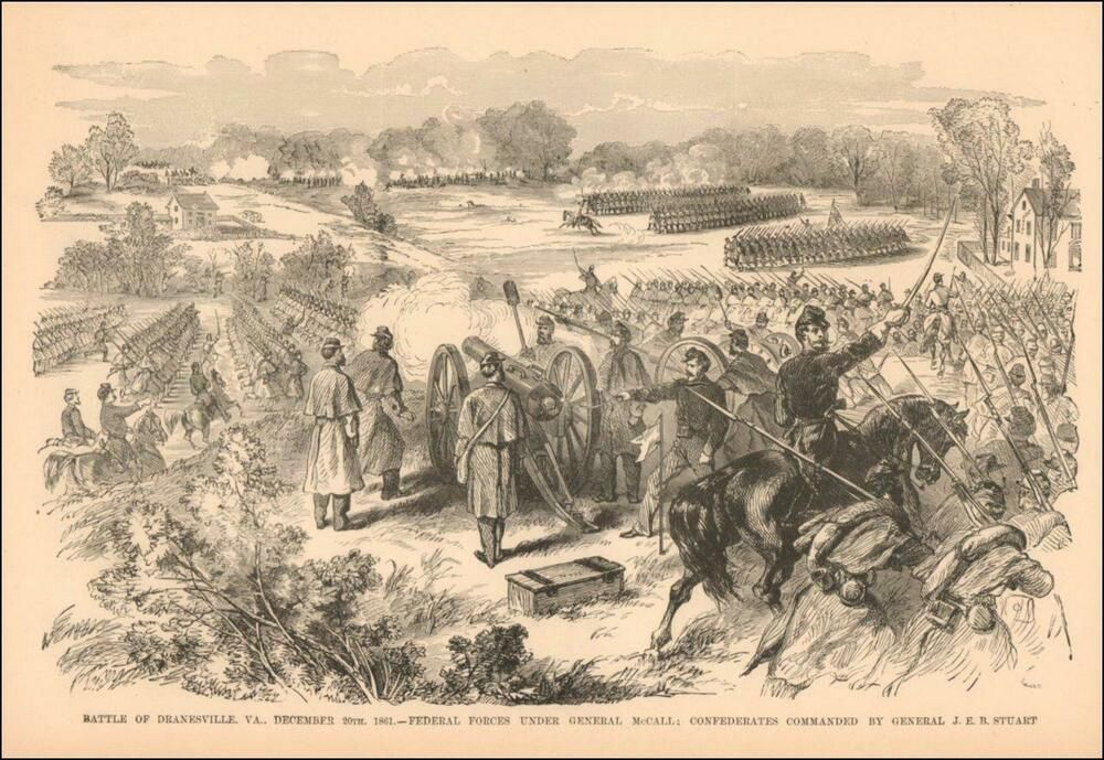 Dranesville Fairfax Virginia Civil War Battle Antique Engraving Original 1885 Ebay Civil War Battles Antique Oil Painting Antiques