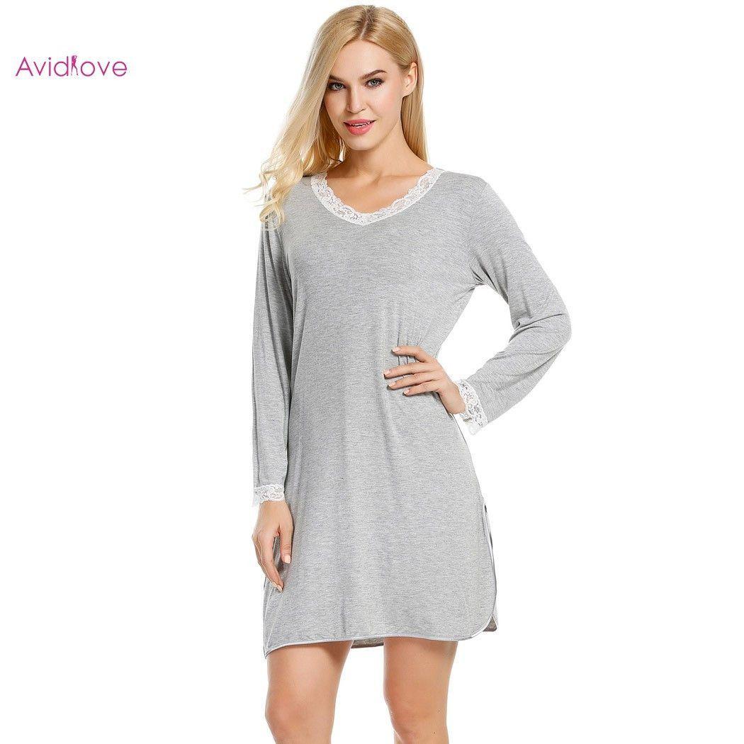 Ekouaer nightgowns nightskirt women v neck long sleeve sleepshirt
