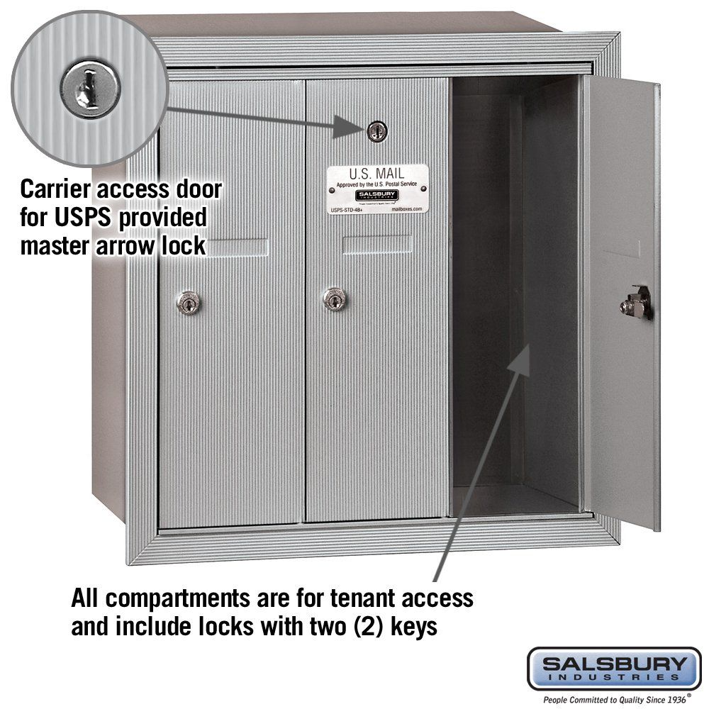 Salsbury Industries 3503aru Recessed Mounted Vertical Mailbox With 3 Doors And Usps Access Aluminum Check Salsbury Industries Locker Storage Hardware Store