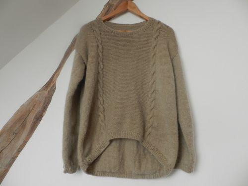 Les Arrondie Base Cotés Tricoter Pull Sur I1HqUAgw
