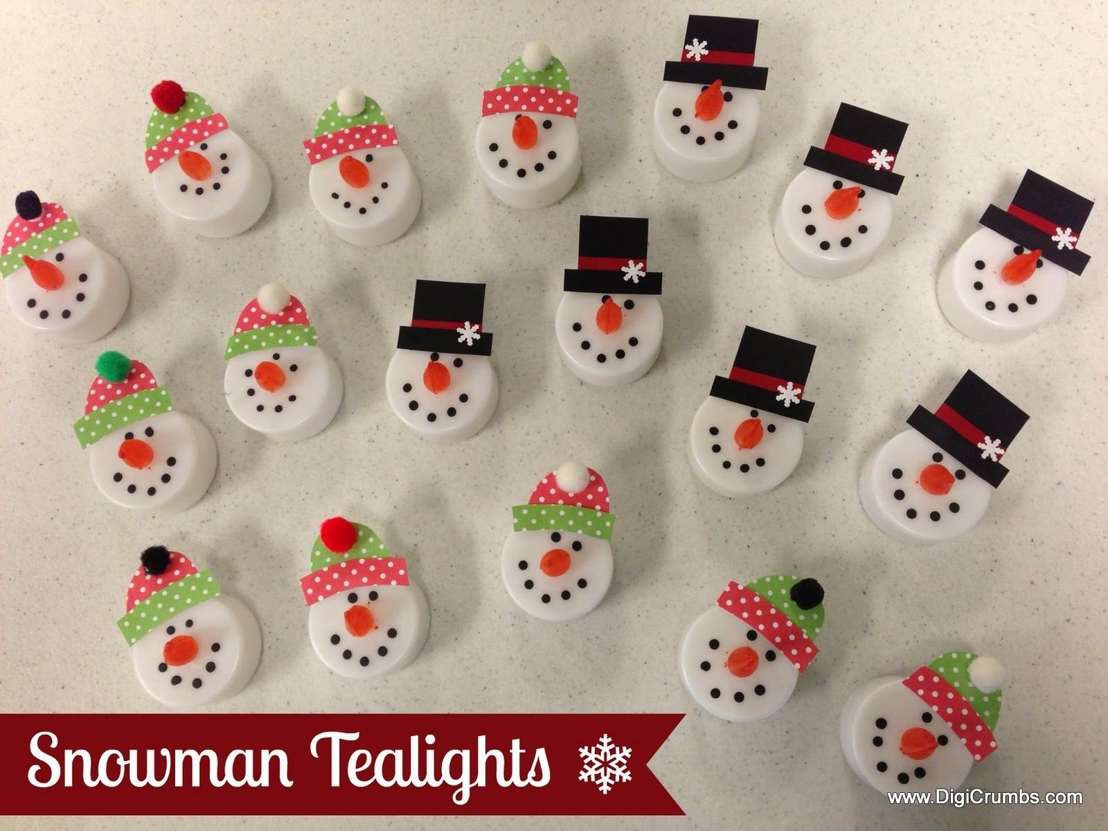 snowman tealights makes a cute ornament magnet pin or package topper christmas crafts to sell christmas crafts to make and sell easy christmas crafts easy christmas crafts