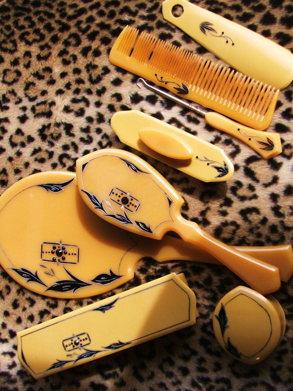 Cellluloid Vanity Dresser Set