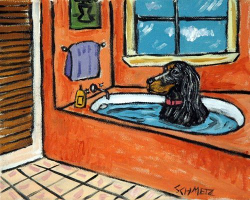 schnauzer taking a bath 13x19  dog art print bathroom gift gifts modern