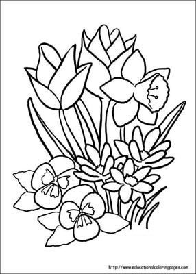 First Day Of Spring Flower Coloring Sheets Spring Coloring