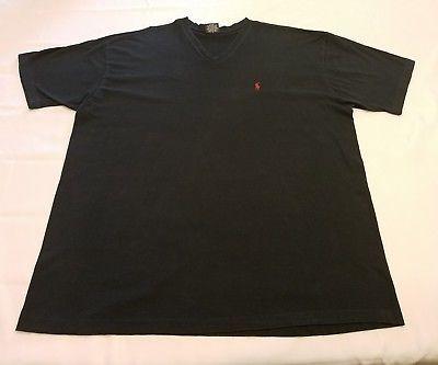 a7eb0c143fa9 Polo Ralph Lauren XL Mens tee red logo V neck T Shirt Black short sleeve  cotton