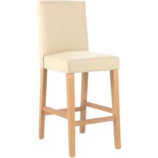Excellent Home Winslow Wood Leather Effect Bar Stool Cream Hair Ocoug Best Dining Table And Chair Ideas Images Ocougorg