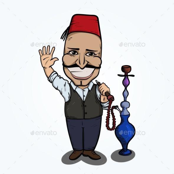 Turkish Man With Hookah Waving Hand Turkish Men People Logo