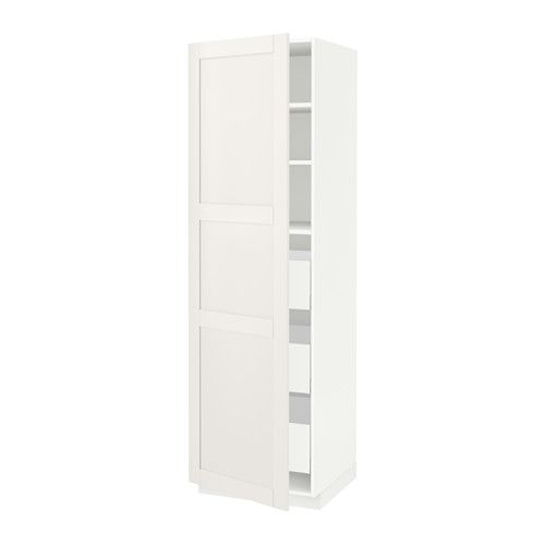 METOD High cabinet with drawers, white Maximera, Sävedal