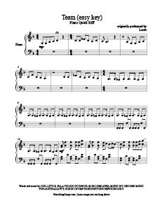 Team - Lorde (easy key) free piano sheet music. Download free piano sheet music at www.PianoBragSongs.com.