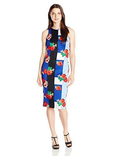 XOXO Women's 38 1/2 inch Printed Sheath Dress, Multi, Medium