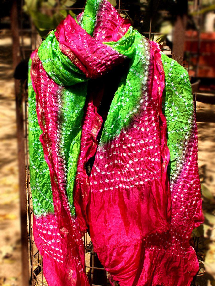 55adc971c9 Green and pink Bandhani silk dupatta. #bandhani #tieanddye #bandhejdupatta