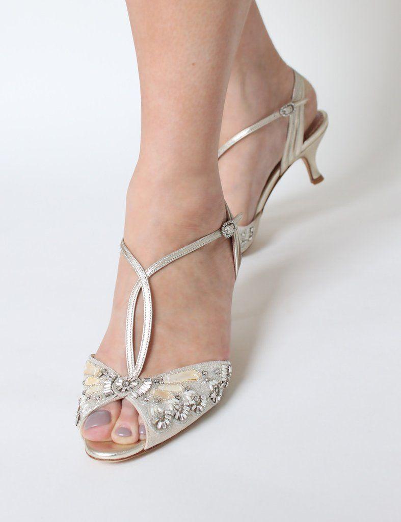 Ella Gold Bridal Shoe Blush Kid Suede Low Heel Sandal Mother Of Pearl Trim