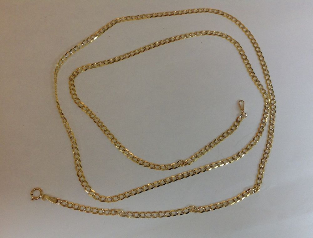 10k Solid Yellow Gold Men 039 S Women 039 S 2mm 4mm D C Cuban Link Chain Necklace14 034 36 034 Ebay Cuban Link Chain Fine Gold Necklace Chain