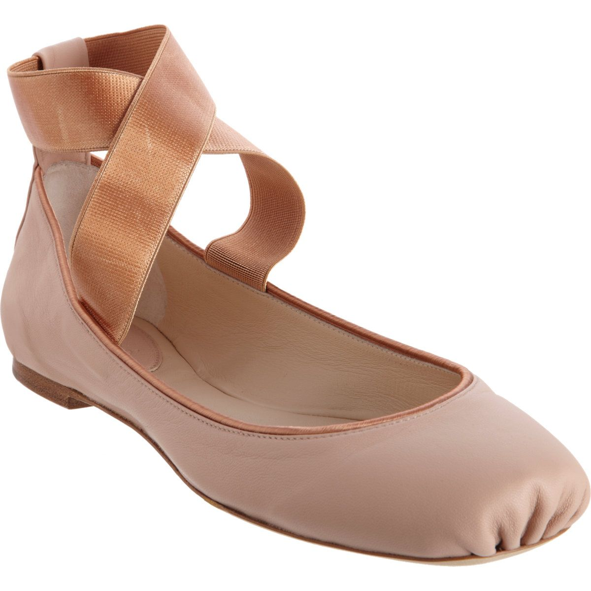 5b2151947c7 Chloé Criss-Cross Ankle Strap Ballet Flat with ruched