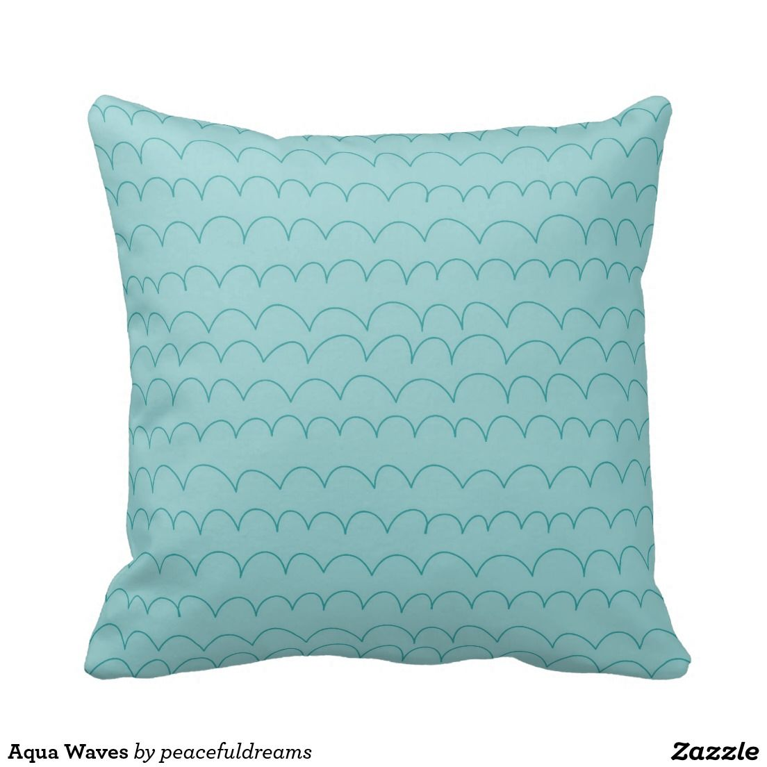 Aqua Waves Throw Pillow