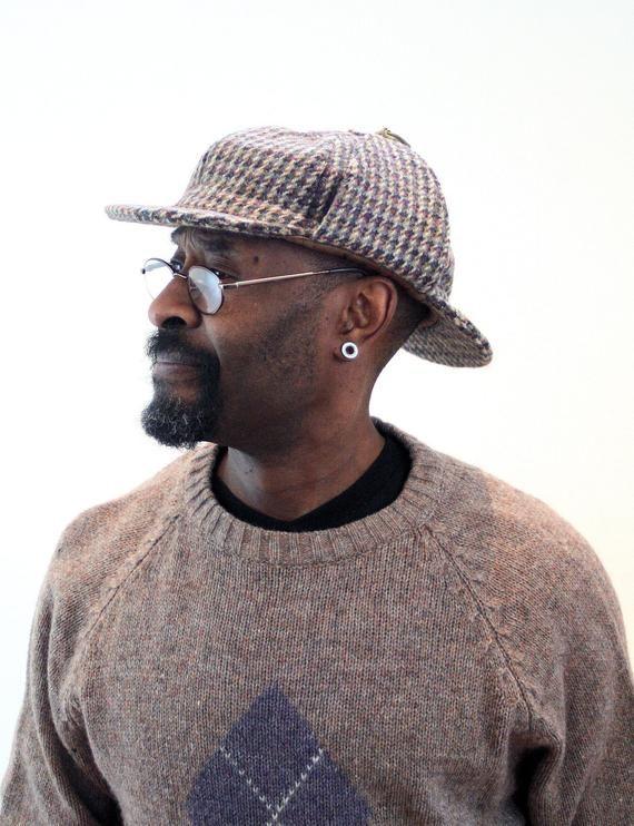 70s Deerstalker Cap 7-3/4 US, 7-5/8 UK, Vintage Harris Tweed Sherlock Holmes Hat Houndstooth Wool Ea