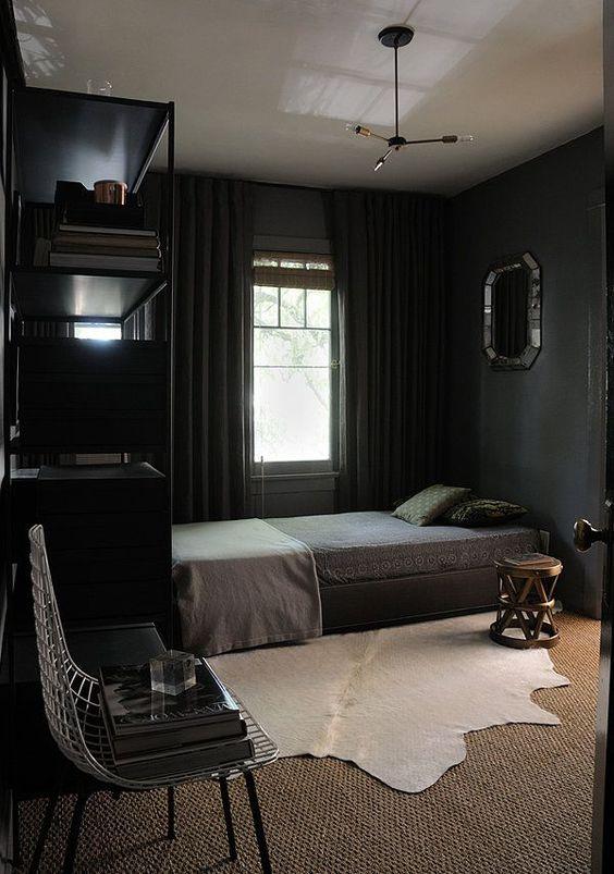 cozy bedroom in black with textural textiles   Cozy small ...