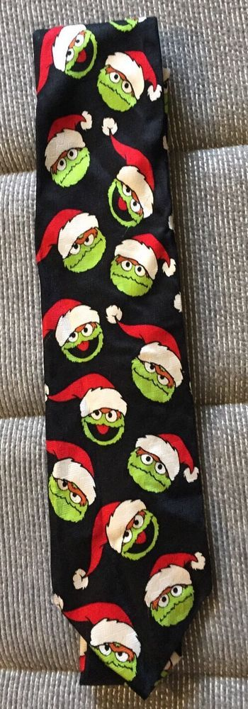 Sesame Street Oscar The Grouch In Santa Hat Neck Tie