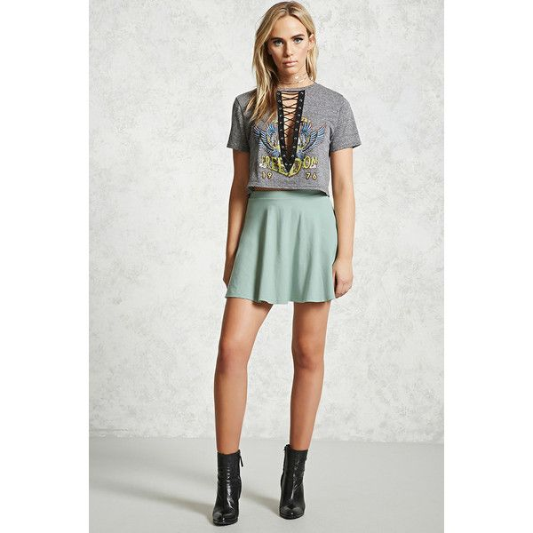 Forever21 Stretch-Knit Flared Skirt ($5.90) ❤ liked on Polyvore featuring skirts, mini skirts, seafoam, mini skater skirt, short mini skirts, flared skater skirt, skater skirt and flared mini skirt
