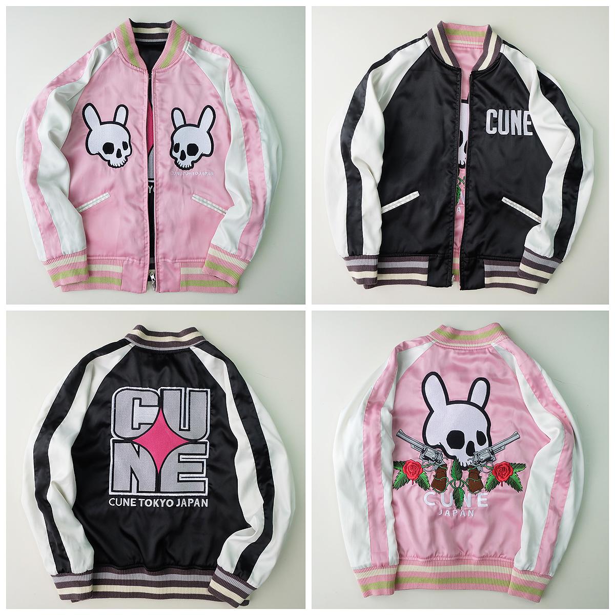 Leather jacket with roses - Japan Vintage Kawaii Cune Tokyo Japan Bunny Skull Black Pink Gun Roses Punk Sukajan Souvenir Jacket