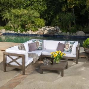 Noble House Brava Gray 4 Piece Wood Outdoor Sectional Set With White Cushions 55324 Outdoor Furniture Design Diy Projects Outdoor Furniture Outdoor Remodel