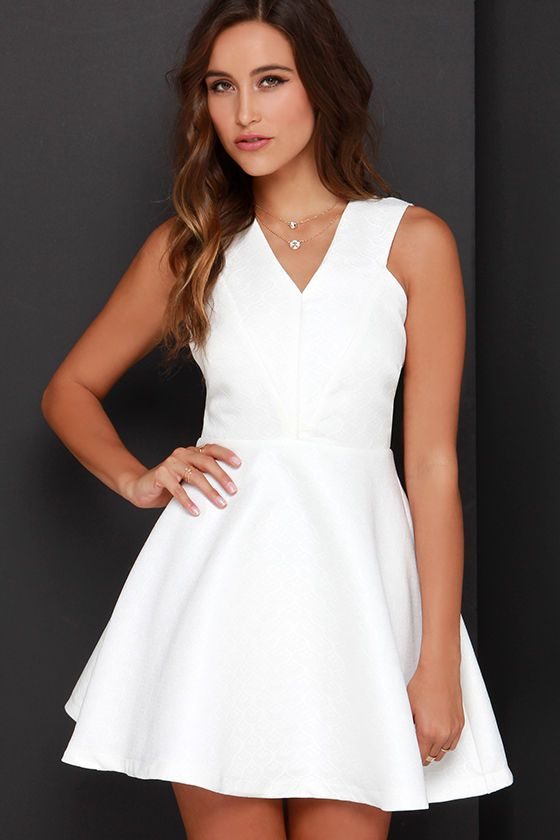 15255154b1 Incurably Romantic Ivory Skater Dress at Lulus.com!