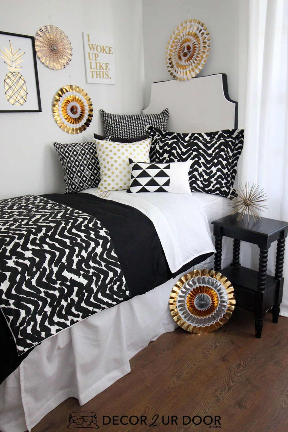 Black White And Metallic Gold Dorm Bedding And Dorm Room Decor
