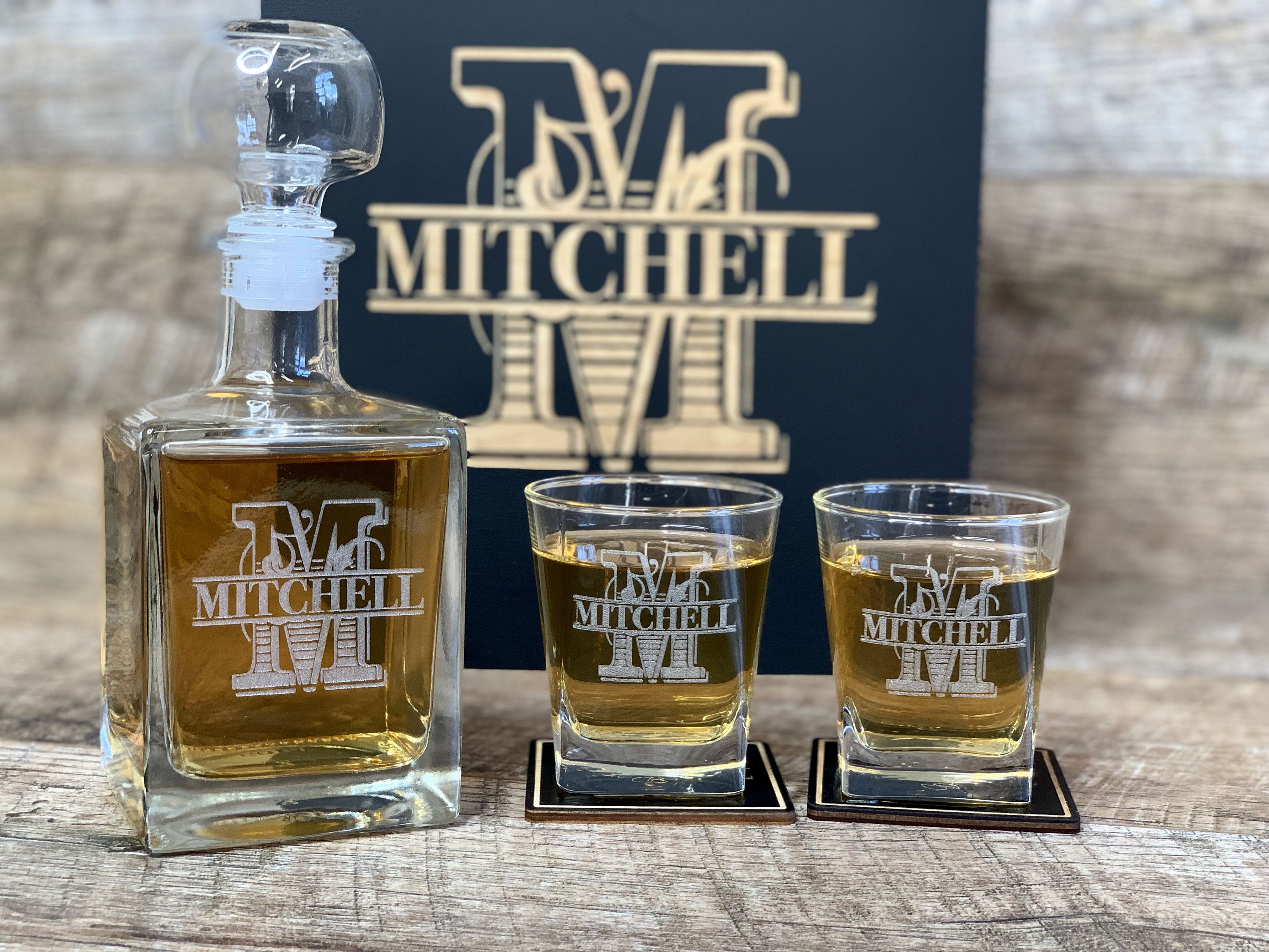 Whiskey box Decanter set personalized gift Monogrammed box