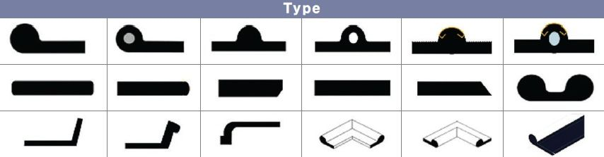 Gate seal It means the material or device for preventing leakage, which is installed in side and bottom of gate or top when gate is submerged in water. It requires high property of abrasion resistance, recovery, ozone resistance and weather resistance.  Purpose: dam, gate, lock, canal, ship and gate seal for mixer facilities. P type rubber : It is usually used for gate packing and it is widely applied to refrigerator and heating cabinet
