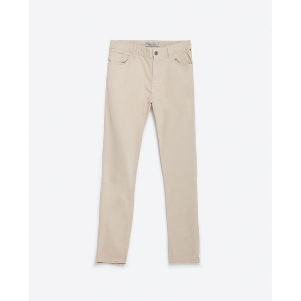 Zara Basic Trousers (€27) via Polyvore featuring men's fashion, men's clothing, light sand et zara mens clothing