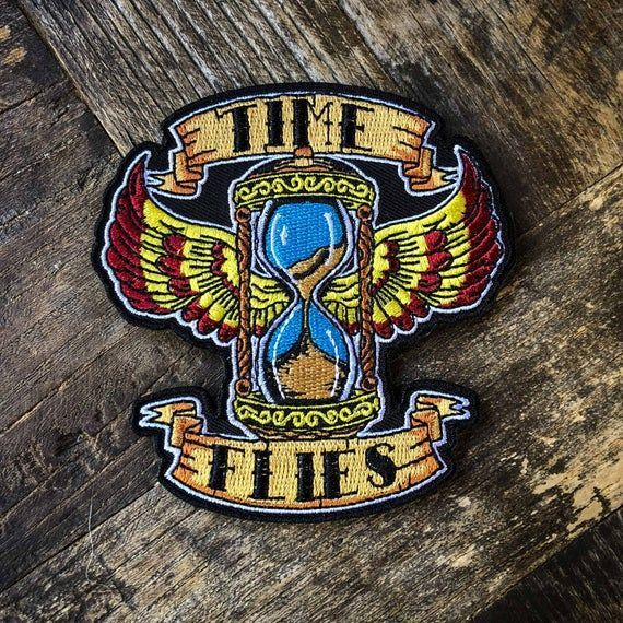 Time Flies Old School Colorful Vintage Tattoo Flash 100 Embroidered Patch  Hook Backed Applique   Products