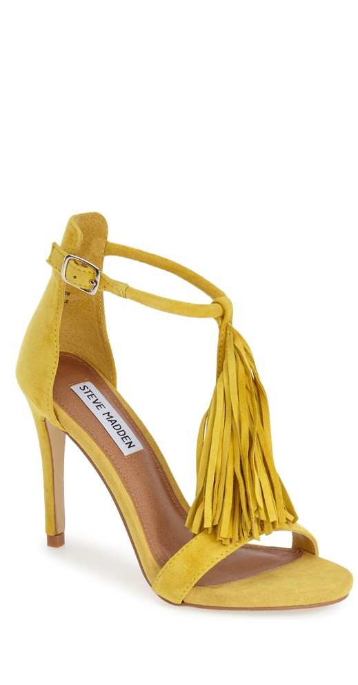 a1b339b9485de4 mustard suede fringe heeled sandals