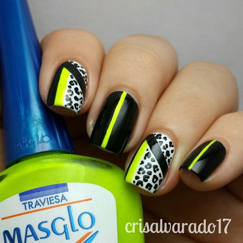 Nailpolis Museum Of Nail Art Neon And Leopard Print By Cristina Alvarado