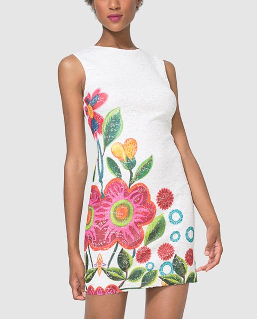 fe9fcc0ff0b Vestido de mujer Desigual blanco con estampado floral