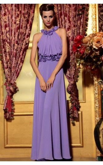 Alluring A-line Chiffon Lilac Jewel Ankle-length With Floral Dress ...