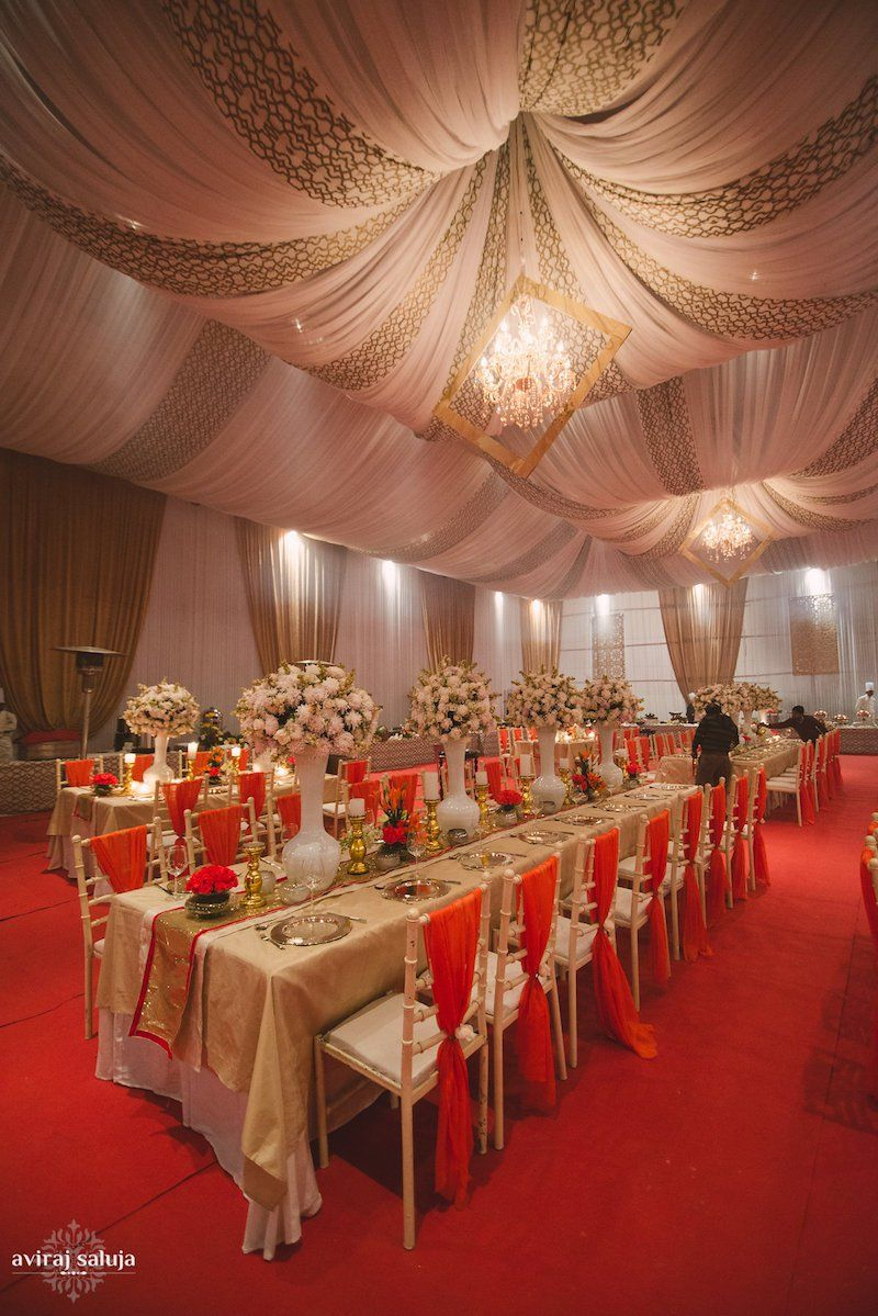 Red Gold And White Wedding Decor Nayantara Saurabh Indian Blog Think Shaadi