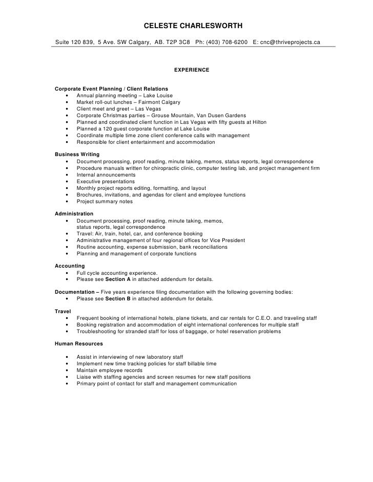 Comprehensive Resume Sample -    jobresumesample 932 - sample meeting agenda