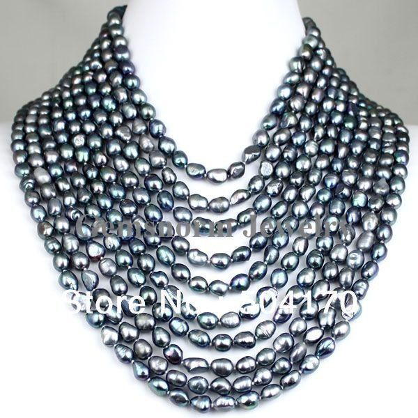 """High Quality FPN0139 17-26"""" 10 Rows Black Baroque Pearl Necklace Wholesale Free Shipping $63.55"""