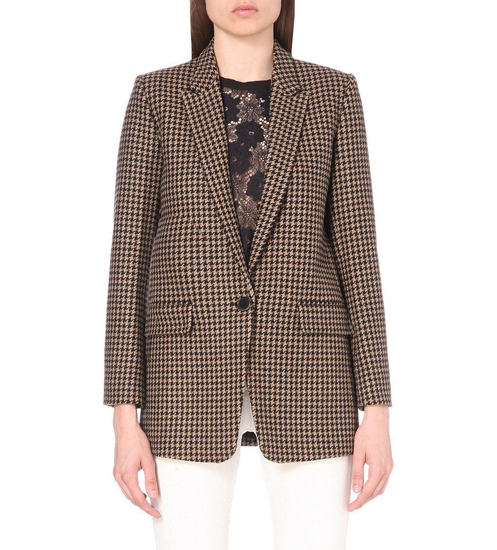 SANDRO Lodger houndstooth wool-blend jacket