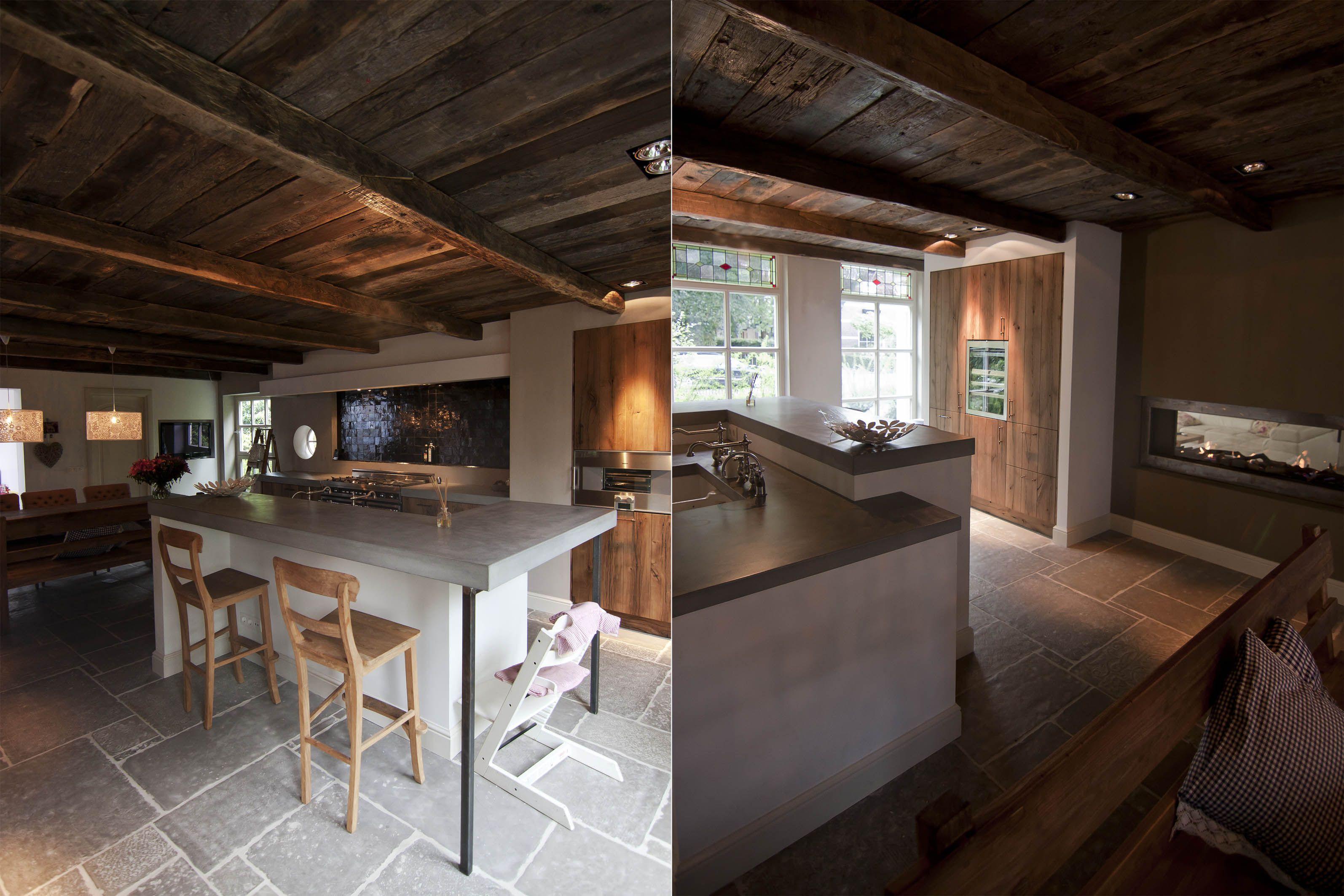 Kitchen old oak cabinets keuken oud eiken fronten betonwerkblad