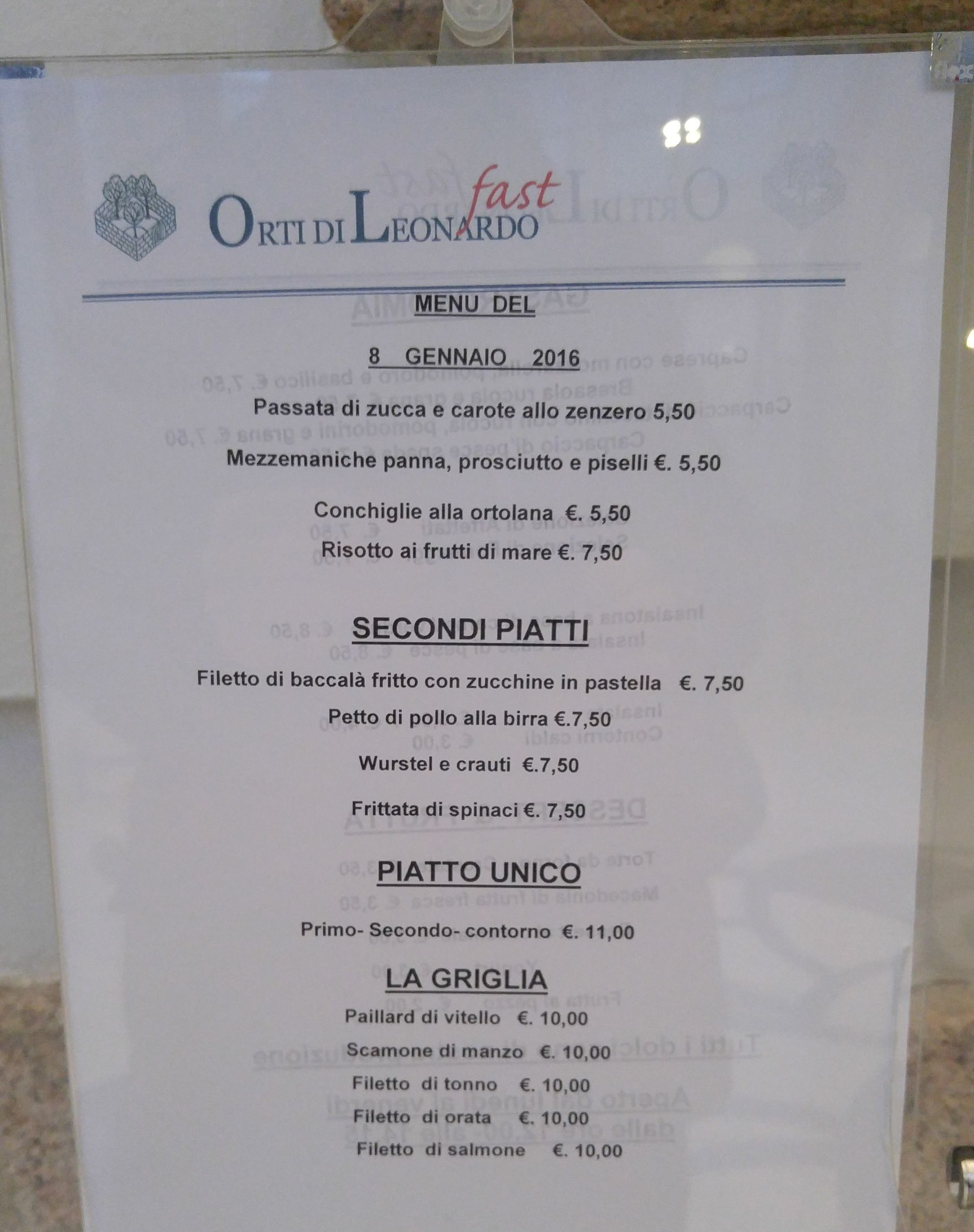 Lunch menu in Milan city centre Milan city, Lunch menu