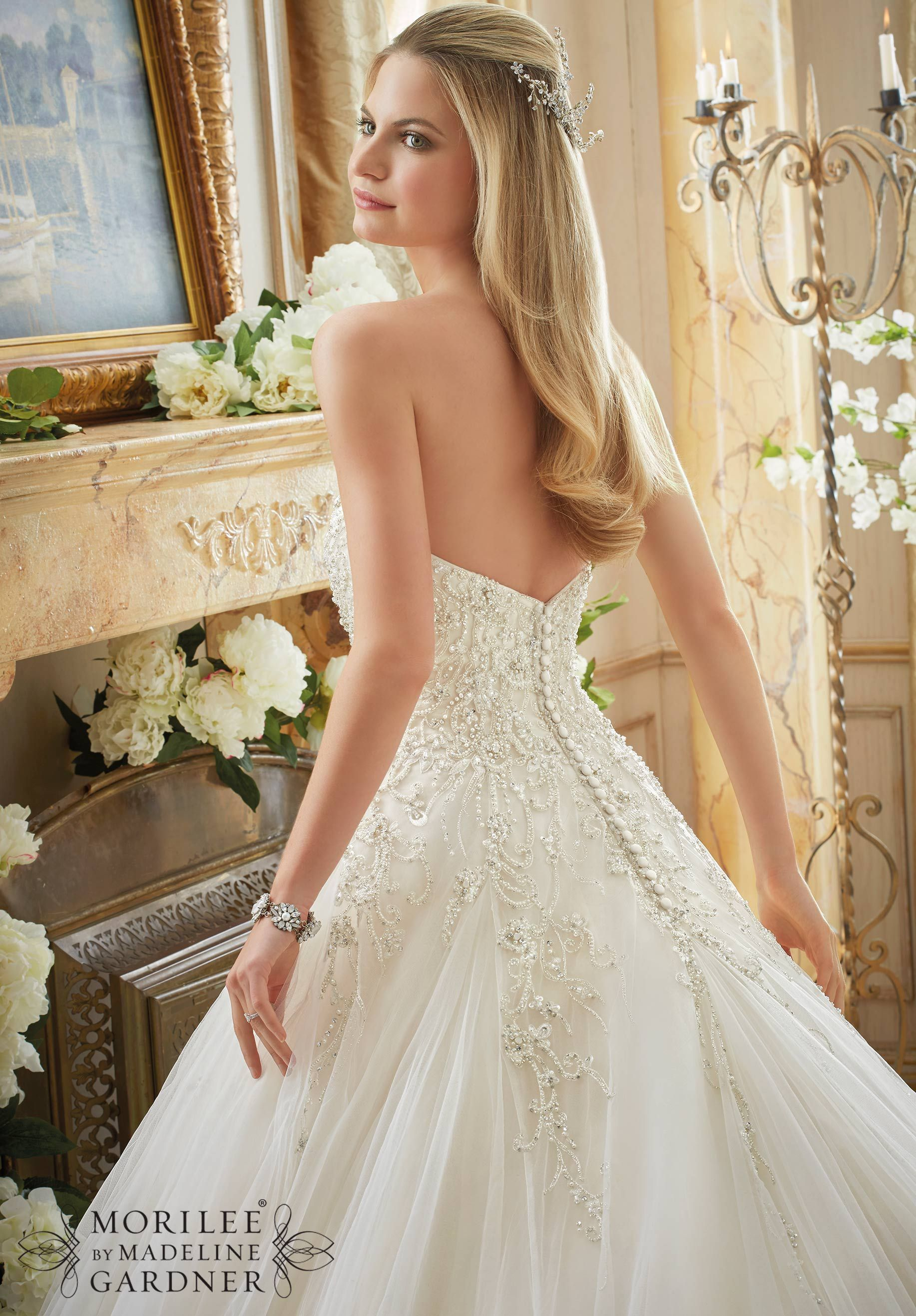 Wedding dress crystal beaded embroidery on gored tulle ball