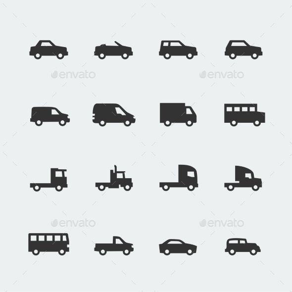 Vector Cars Vehicles Mini Icons Set Truck Tattoo Icon Set Car Icons