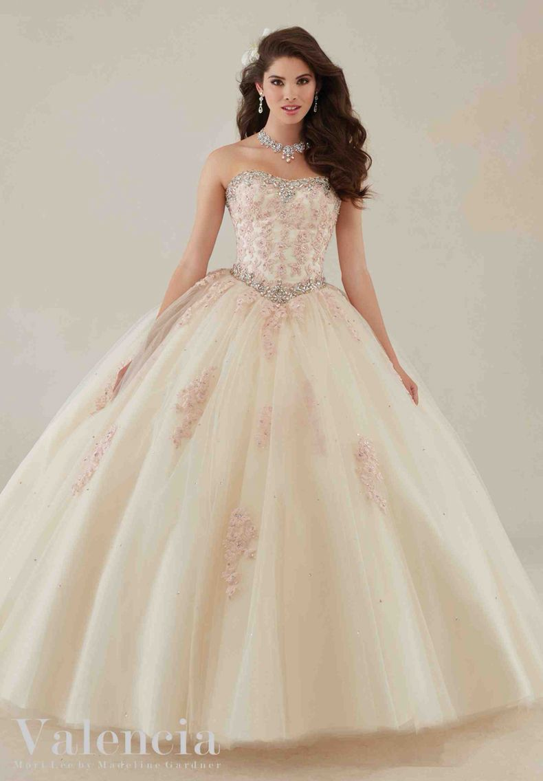 Morilee Valencia Quinceanera Dress 89086 Lace Liqués And Beading On A Tulle Ball Gown Colors
