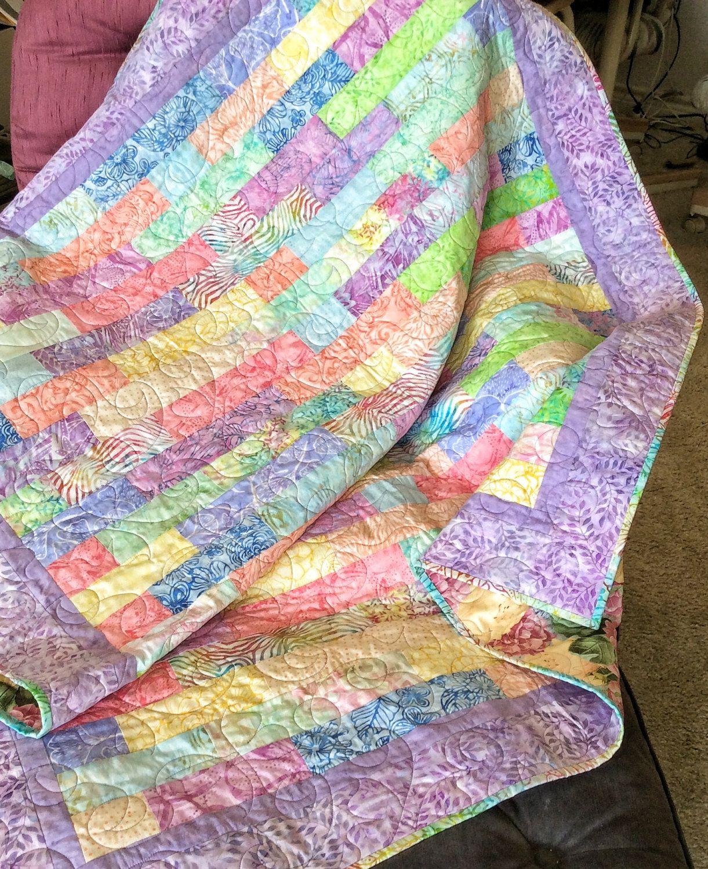Handmade Batik Lap Quilt-Modern Pastel Quilt-Handmade