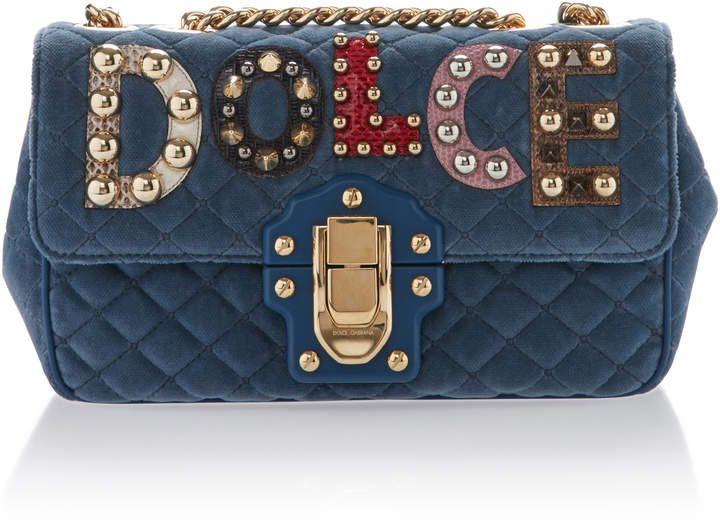 Dolce   Gabbana Embellished Quilted Leather Shoulder Bag  458b67977bd10