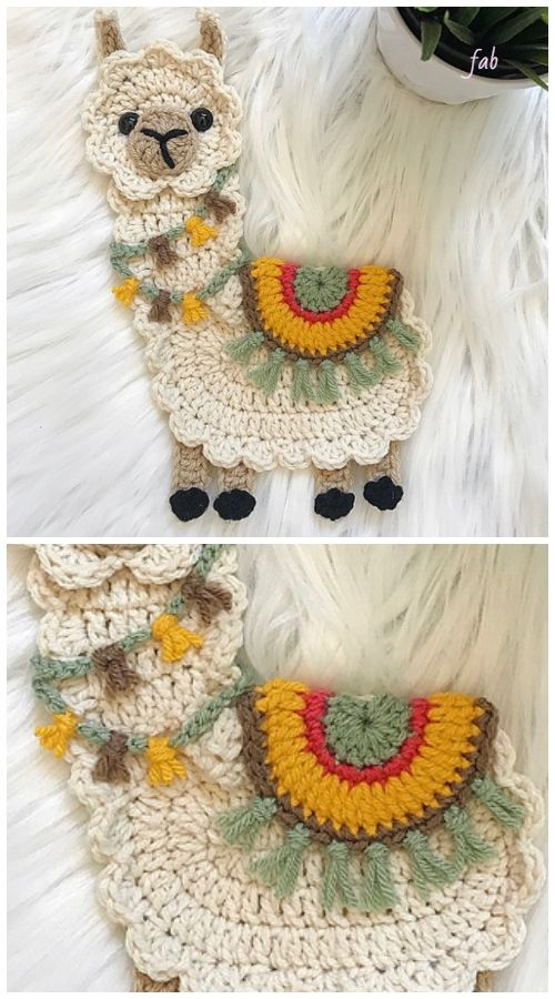 Llama Applique Crochet Patterns Free & Paid | Tejidos | Pinterest ...