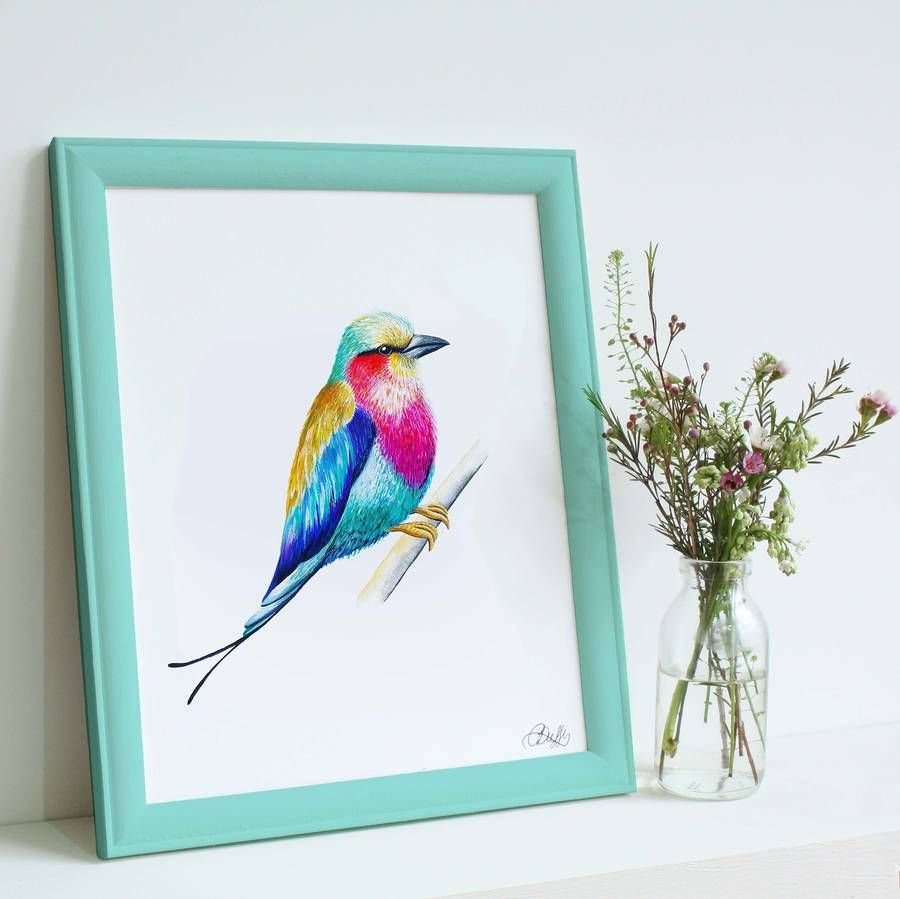 Are you interested in our Lilac Breasted Roller Bird Illustration Print? With our Giclee Bird Illustration Art Print you need look no further.