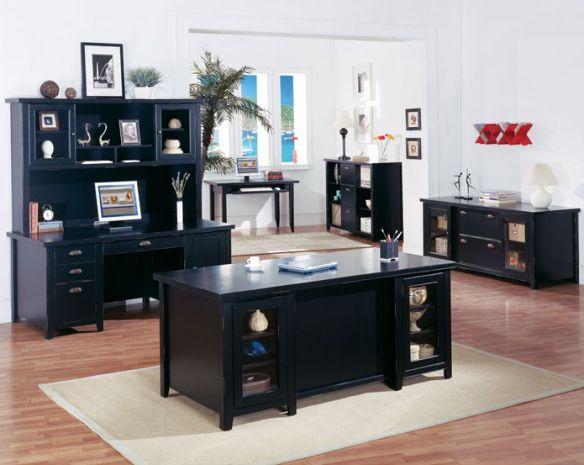 Tribeca Loft Black Collection Black Office Furniture For A Sleek Elegant Look With Images Black Home Office