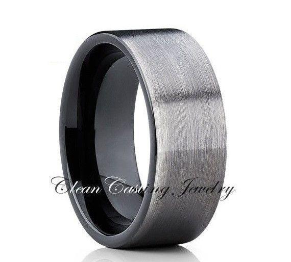 Black Tungsten Wedding Band Gray Gunmetal Ring Black Tungsten Ring Tungsten Wedding Bands Tungsten Carbide Wedding Rings Tungsten Wedding